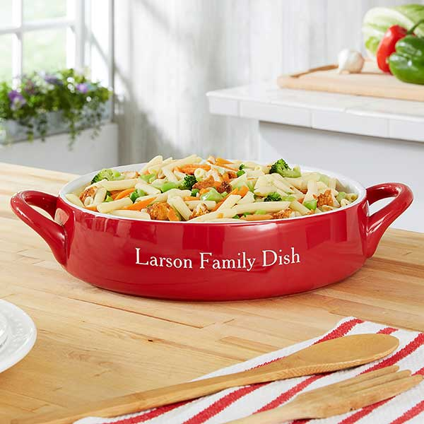 Personalized Bakeware - Classic Red Ceramic Pottery - 21773