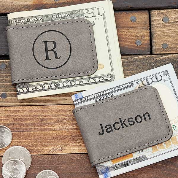 Grey Leatherette Personalized Money Clip - 21774