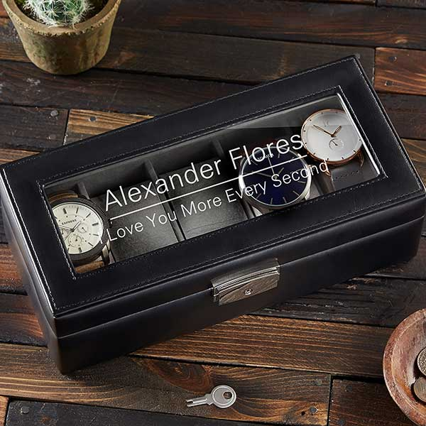 Custom Message Personalized Leather Watch Box - 21777