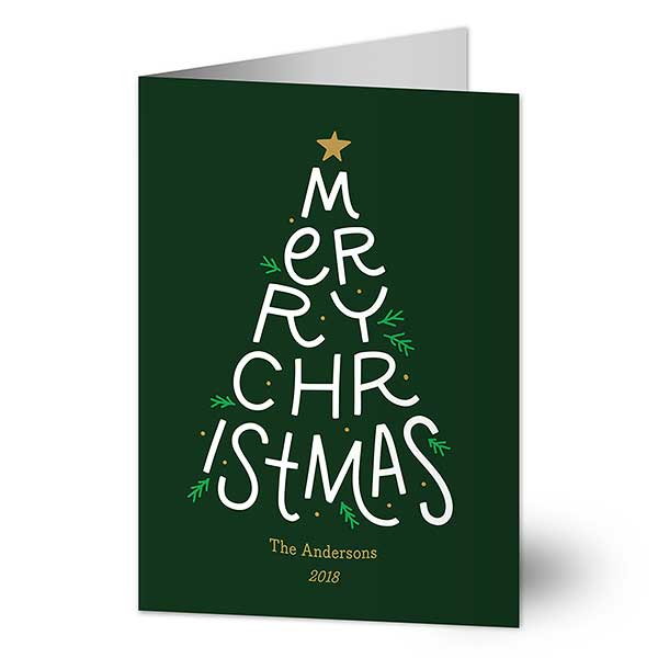 Merry Christmas Tree Personalized Christmas Cards - 21783