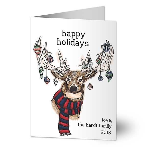 Ornament Reindeer Custom Holiday Cards - 21785