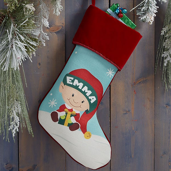 Christmas Elf Characters Personalized Christmas Stockings - 21842