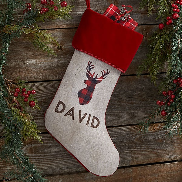Cozy Cabin Buffalo Check Personalized Christmas Stockings - 21844