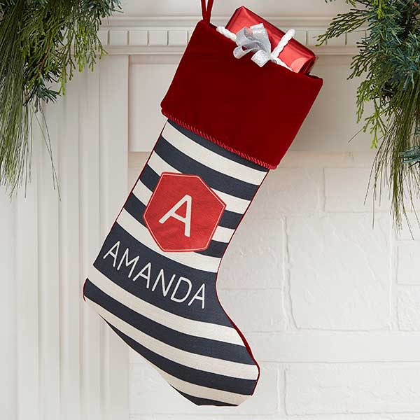 Modern Stripe Personalized Christmas Stockings - 21849