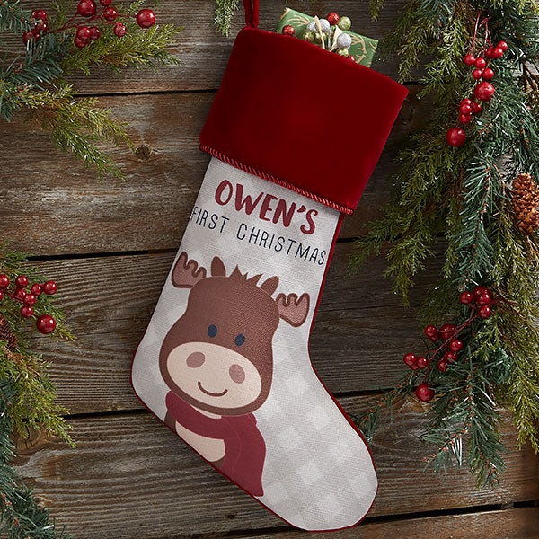 Baby Moose Personalized First Christmas Stockings - 21858