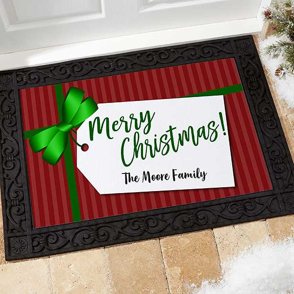 Personalized Holiday Doormats - Gift Tag Greetings - 21867