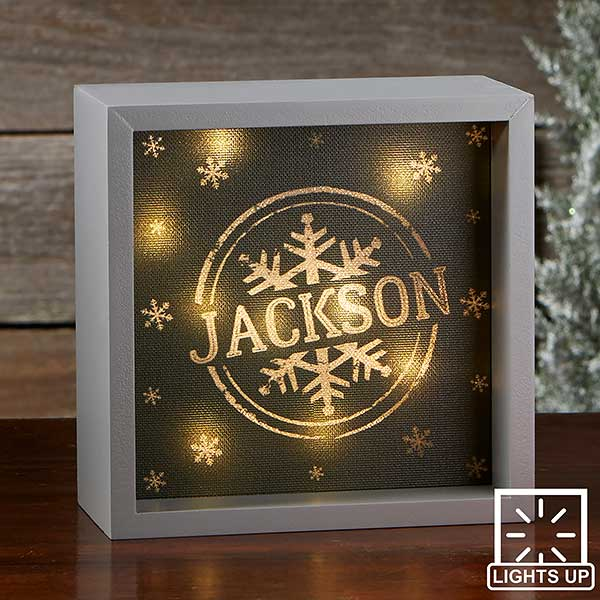 Stamped Snowflake Personalized LED Light Shadow Box - 21873