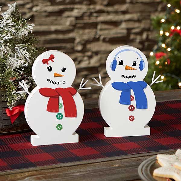Personalized Wooden Snowman Shelf Decor - Snowman Face - 21875