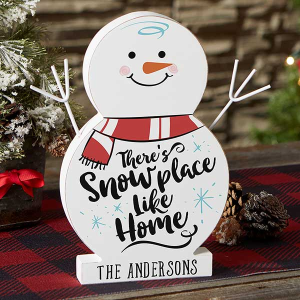 Snowplace Like Home Small Personalized Wood Snowman