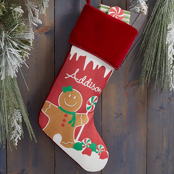 Gingerbread Characters Personalized Christmas Stockings - 21885