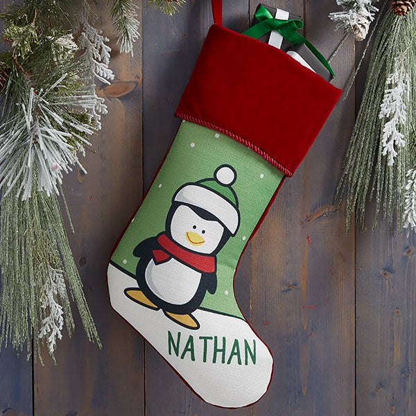 Penguin Characters Personalized Christmas Stockings - 21886