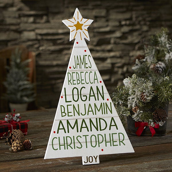 Christmas Family Tree Personalized Whitewashed Wood Tree - 21889