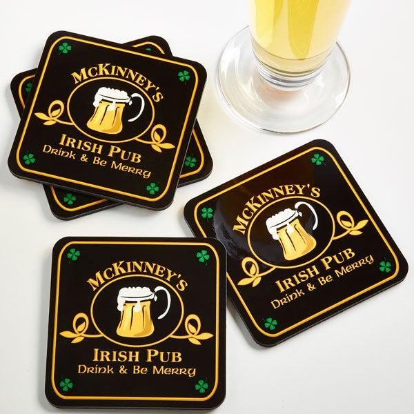 Personalized Irish Pub Beer Mug Coasters - 2189
