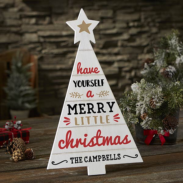 Farmhouse Christmas Personalized Wood Tree Decor - 21890