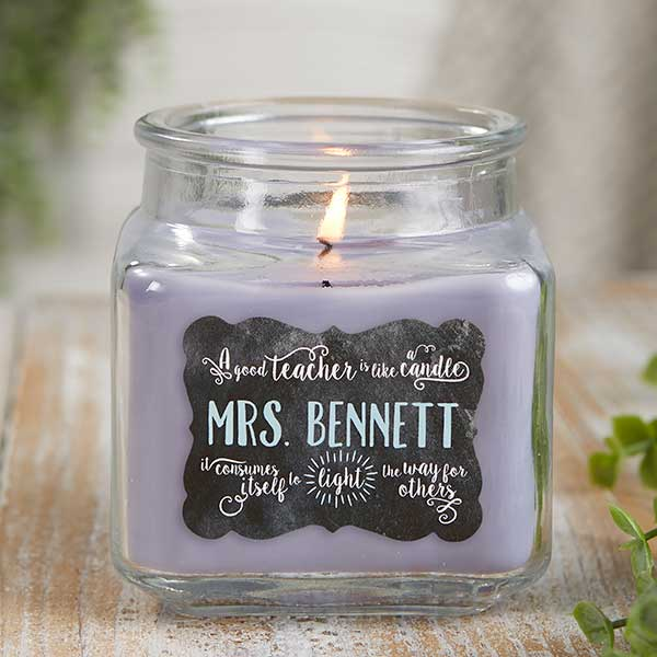 Teachers Light The Way Personalized Scented Glass Candle Jars - 21897