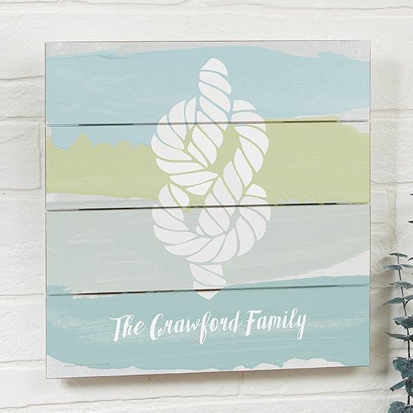 Seaside Swatch Knot Personalized Wooden Shiplap Signs - 21898