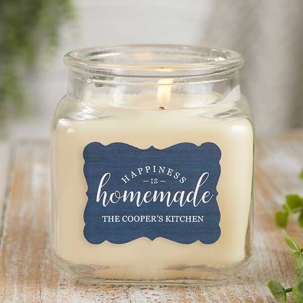 happiness is homemade personalized scented glass candle jar