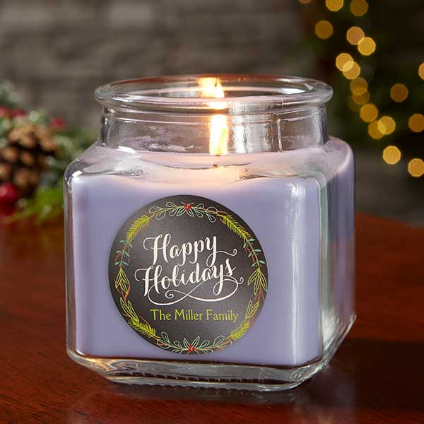 Happy Holidays Personalized Scented Candle Jars - 21910