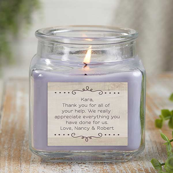Personalized Scented Glass Candle Jars - Thank You Candle - 21921