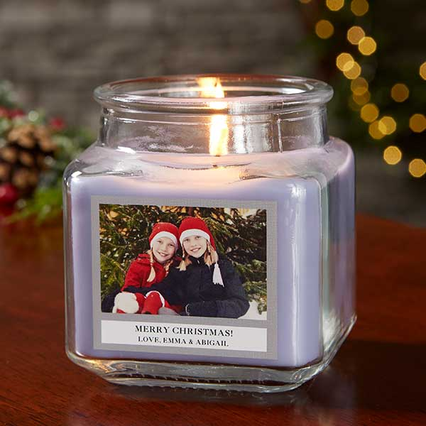 Holiday Photo Personalized Scented Glass Candle Jars - 21928