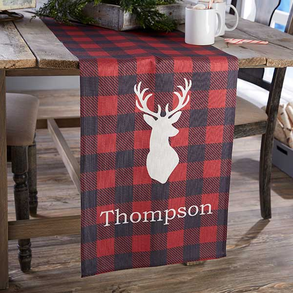 Personalized Buffalo Plaid Table Runner - Cozy Cabin - 21930