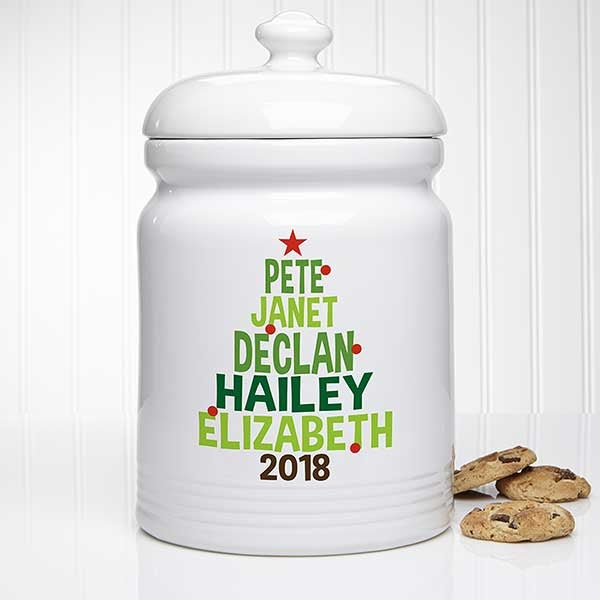 Christmas Family Tree Personalized Cookie Jar - 21933