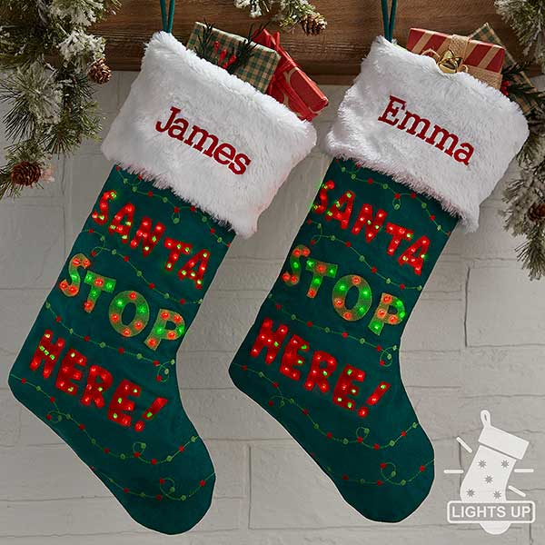 Santa Stop Here Personalized Light Up Christmas Stocking  - 21937