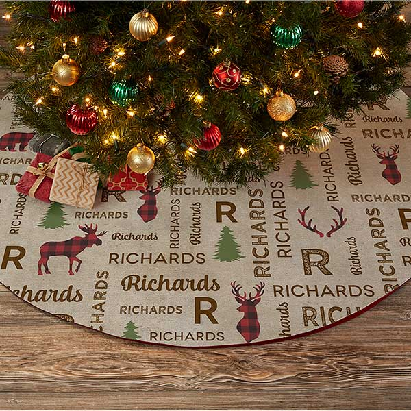 Cozy Cabin Personalized Christmas Tree Skirt - 21939
