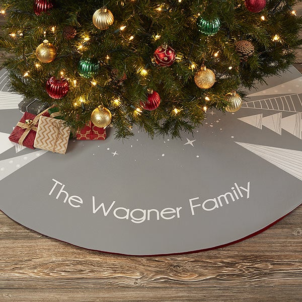 Frosty Neutrals Personalized Christmas Tree Skirt - 21940