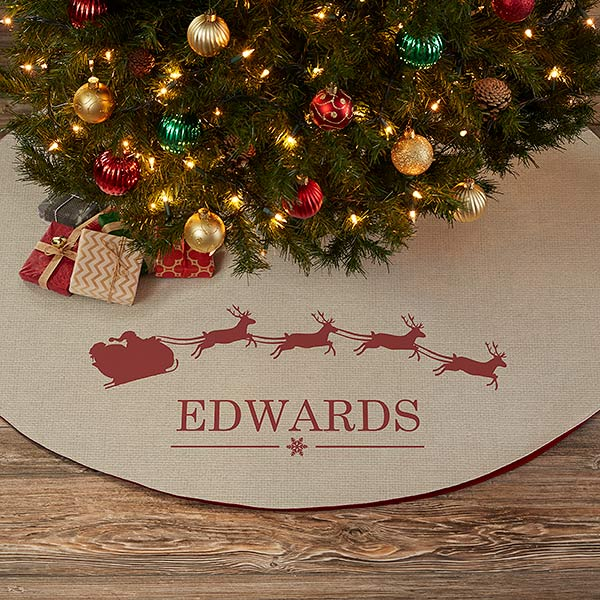 Santa Sleigh Personalized Christmas Tree Skirt - 21945