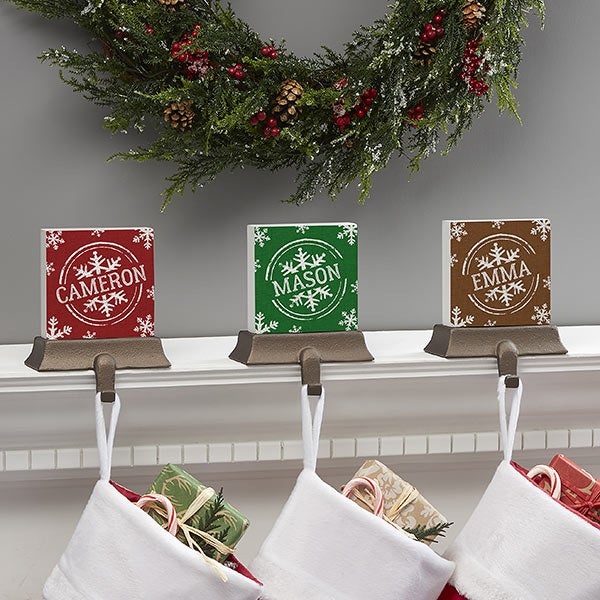 Stamped Snowflake Personalized Stocking Holders  - 21946