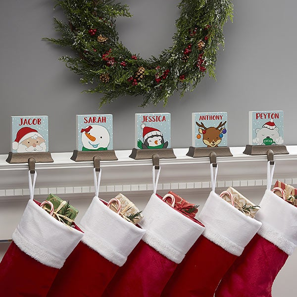 Whimsical Winter Characters Personalized Stocking Holders - 21949