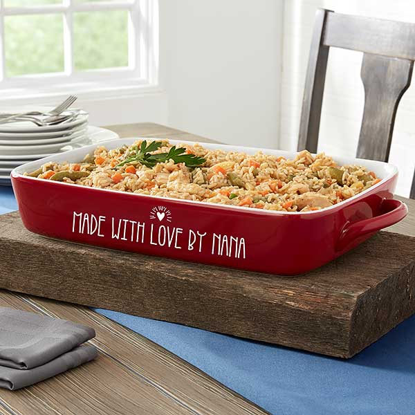 Made With Love Personalized Red Casserole Baking Dish For The Home