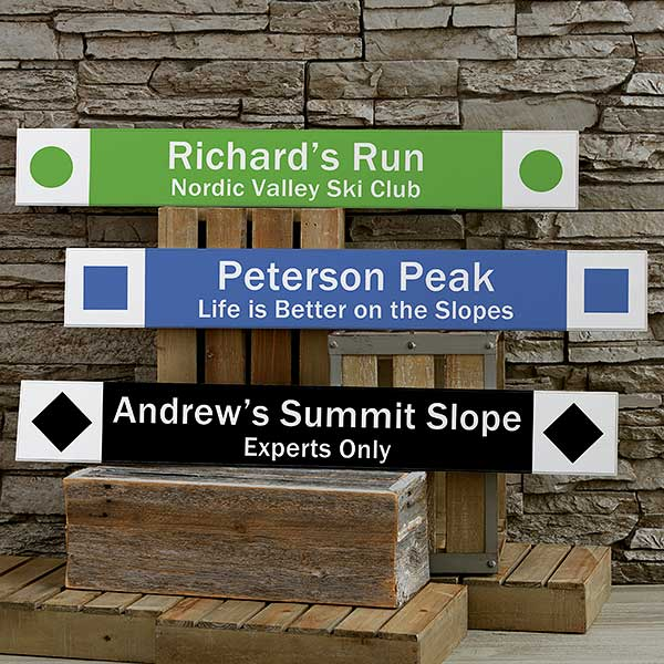 Ski Trail Personalized Wooden Sign - 21959