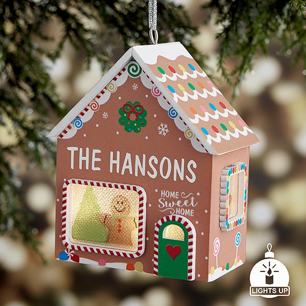 Gingerbread House Personalized Light Up Ornament - 21969