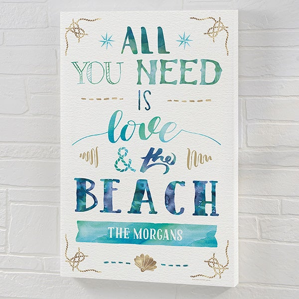 All You Need Is Love & The Beach - Personalized Canvas Print - 21970