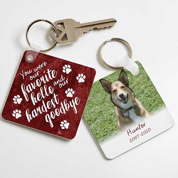 Personalized Pet Memorial Keychain - Pawprints On My Heart - 21984
