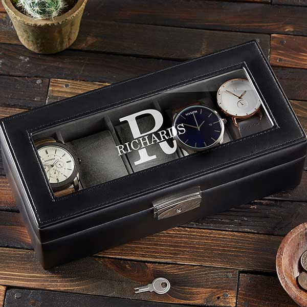 Name & Monogram Personalized Leather Watch Box - 21988