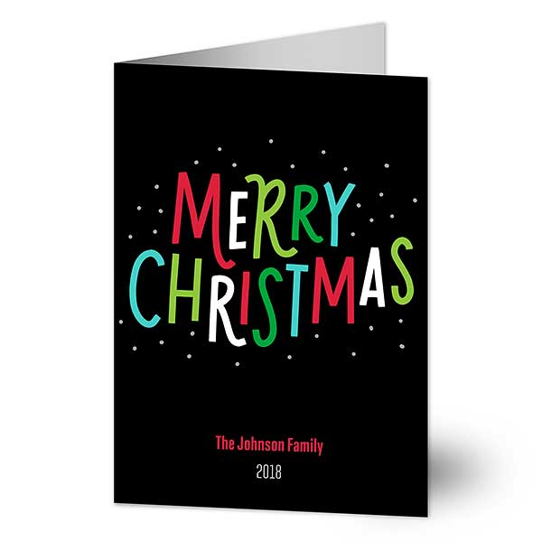 Colorful Wishes Personalized Christmas Cards - 21992
