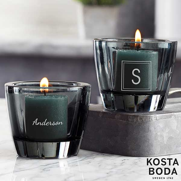 Kosta Boda Bruk Personalized Grey Votive Candle Holder - 21997