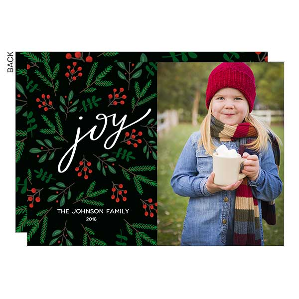 Floral Joy Custom Holiday Photo Cards - 22004
