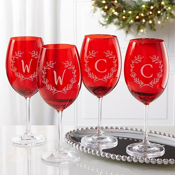 Christmas Wreath Monogram Crystal Wine Glasses - 22007
