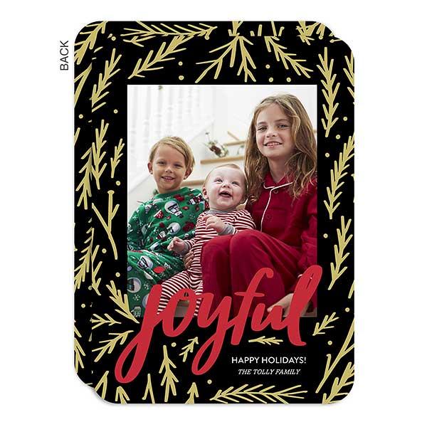 Black & Gold Joyful Holiday Photo Cards - 22010