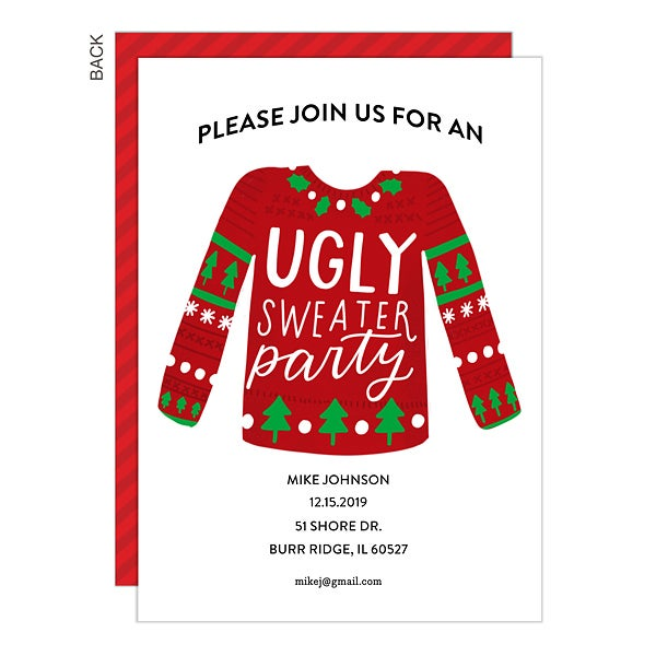 Ugly Christmas Sweater Party Invite.Ugly Sweater Party Invitation