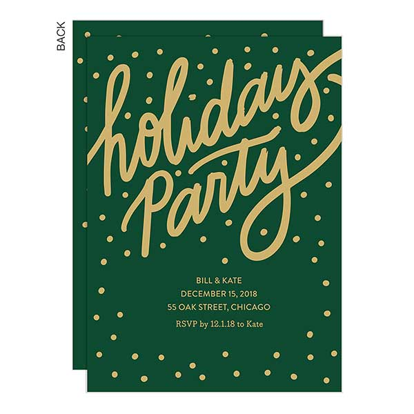 Gilded Green Holiday Party Invitations 22017