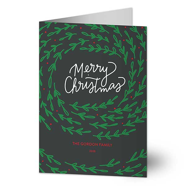 Circle of Leaves Personalized Christmas Cards - 22017