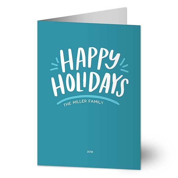 Simple Happy Personalized Holidays Cards - 22022
