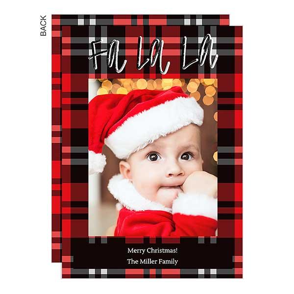 Fa La La Plaid Holiday Photo Cards - 22053