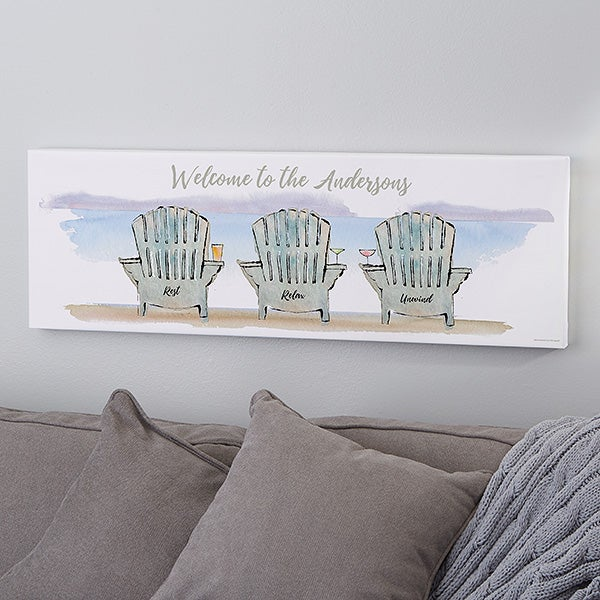 Personalized Canvas Art Print - Adirondack Chairs - 22054
