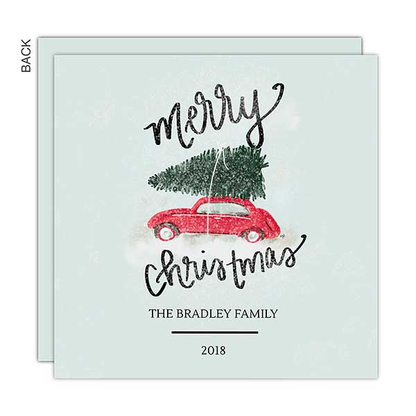 Classic Red Car Premium Christmas Card Holiday Stationery